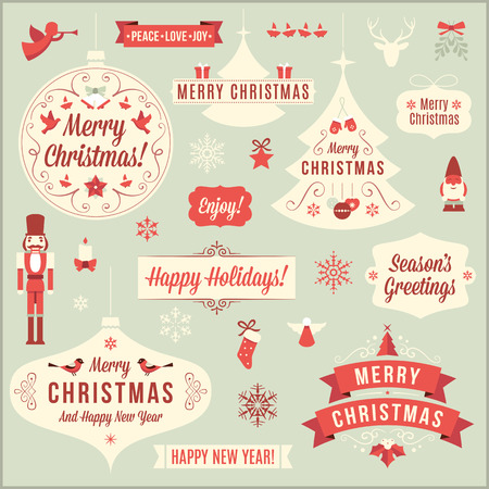 Collection of vintage christmas design elements.