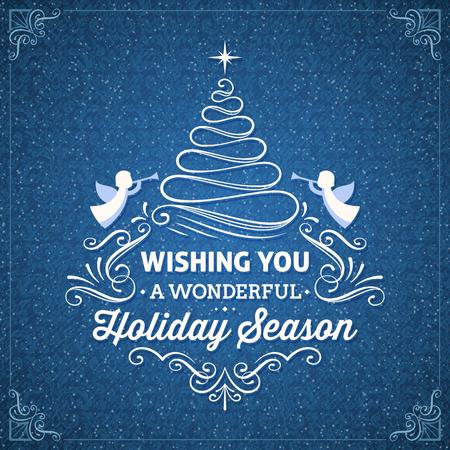 흰색 장식 및 당신에게 멋진 휴가 시즌을 기원 텍스트와 블루 크리스마스 카드. 사용 모드를 혼합.