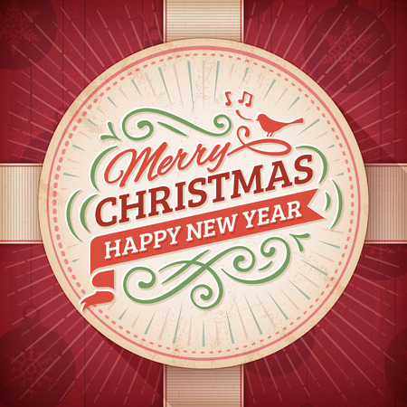 Christmas and new year\'s greeting card with a beige round label on a red background.