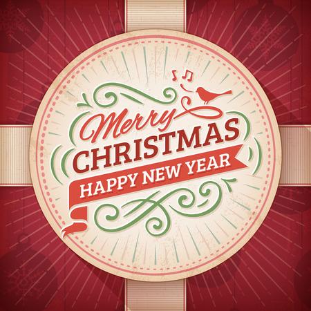 크리스마스와 빨간색 배경에 베이지 색 라운드 레이블 새해 인사말 카드입니다.