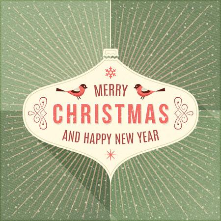 녹색 배경에 크리스마스 인사말과 장식품 베이지 색 레이블입니다.
