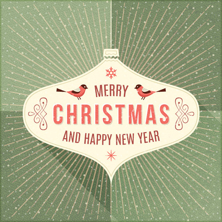 Beige label with christmas greeting and ornaments on a green background.