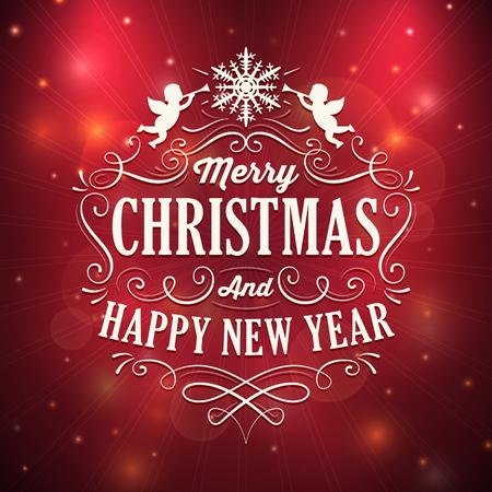 사각형 모양의 크리스마스와 새 해 인사말 카드 흰색 장식품 및 텍스트 스파클링 빨간색 배경에. 혼합 모드가 사용되었습니다.