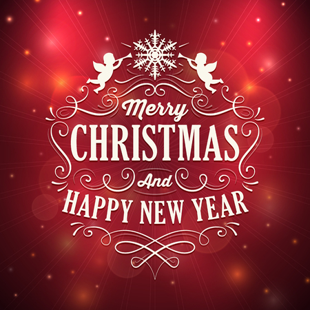 Square shaped christmas and new year greeting card with white ornaments and text on a sparkling red background. Blending modes used.