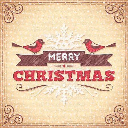 손으로 그린 장식품, 조류와 크리스마스 인사말 텍스트와 베이지 색 크리스마스 카드.