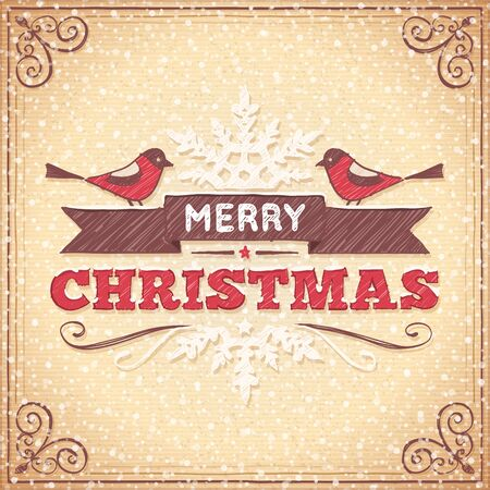 Beige christmas card with hand drawn ornaments, birds and christmas greeting text. Imagens - 46720097