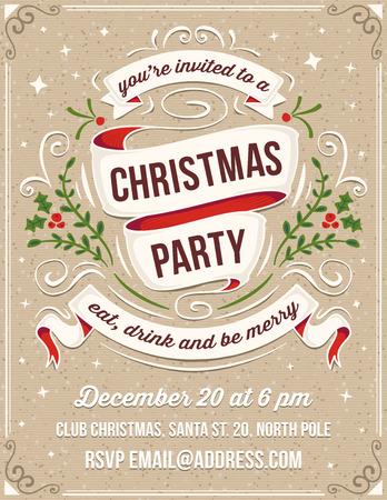 invitacion fiesta: Dibujado a mano invitaci�n de la fiesta de Navidad. Solamente los rellenos s�lidos utilizados. No hay transparencia. El ejemplo texto blanco est� en una capa separada para la eliminaci�n r�pida. Vectores