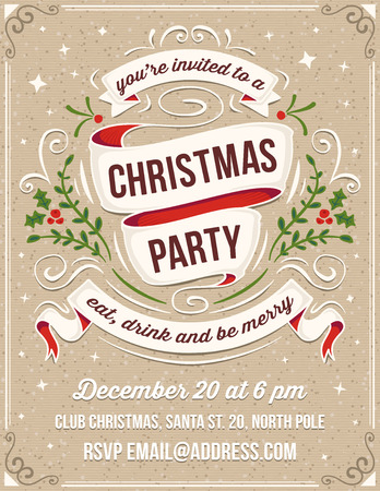 scroll background: Hand drawn christmas party invitation. Only solid fills used. No transparency. The white example text is on a separate layer for quick removal.