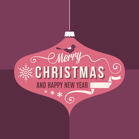 Square shaped purple and red christmas card with text and ornaments.