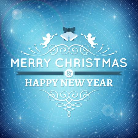 텍스트와 장식품 블루 크리스마스 카드. 별 및 배경에 렌즈 플레어 빛나는. 일러스트