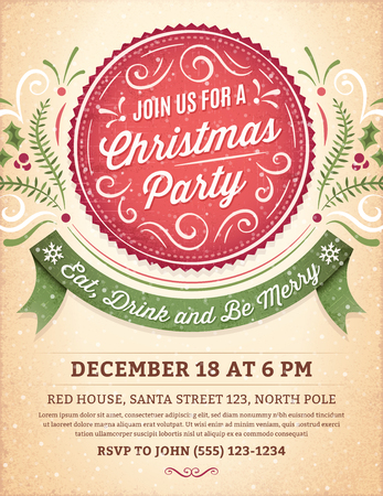 card: Christmas party invitation with ornaments, label and ribbon.