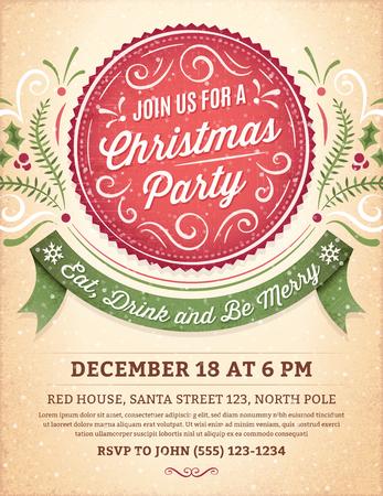 diciembre: Invitación de la fiesta de Navidad con adornos, la etiqueta y la cinta.