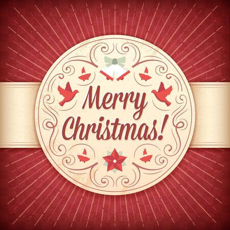 비둘기, 종소리, 엘 프, 장신구와 텍스트와 함께 빨간색과 베이지 색 크리스마스 카드. 일러스트