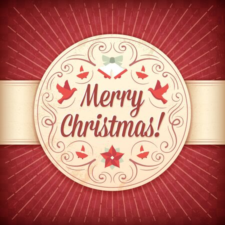 Red and beige christmas card with doves, bells, elves, ornaments and text.