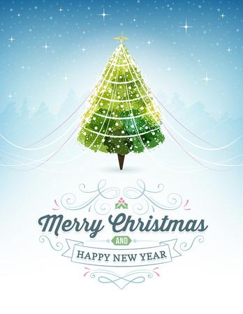 별이 빛나는 하늘과 크리스마스 트리와 크리스마스 배경입니다. 텍스트 및 장식품입니다.
