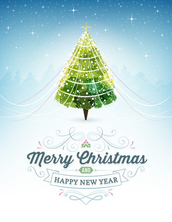 Christmas background with starry sky and a christmas tree. Text and ornaments.  Illustration