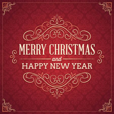 Red square shaped christmas and new year's greeting card with elegant ornaments and text. Converts to CMYK with no color change.