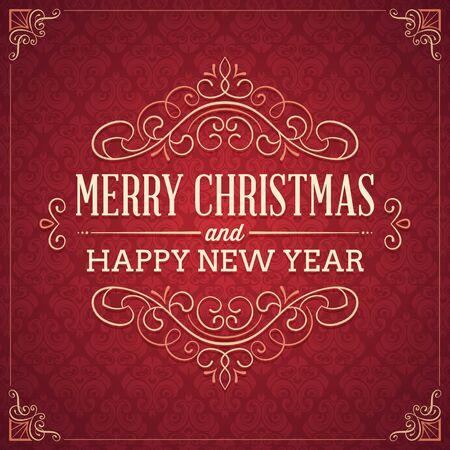 붉은 광장은 우아한 장식과 텍스트로 크리스마스와 새 해 인사말 카드 모양. 어떤 색상 변화에 CMYK로 변환합니다.