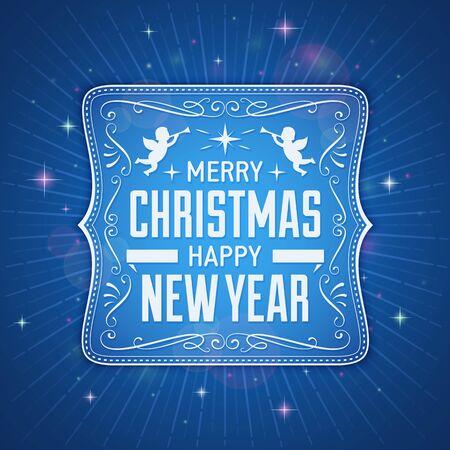 광선, 렌즈 플레어와 빛나는 별 블루 크리스마스 인사말 카드입니다.