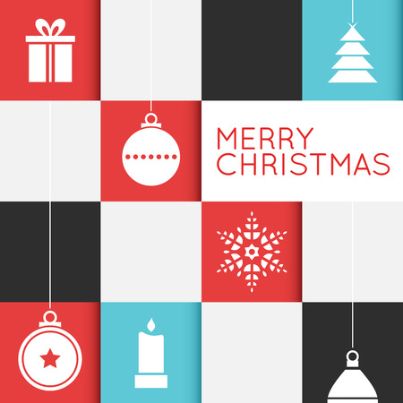 christmas gifts: Checkered christmas card with the text Merry Christmas and stylized christmas ornaments.