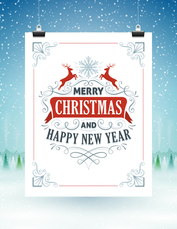 christmas greeting: Christmas card hanging on strings with a snowy landscape in the background.