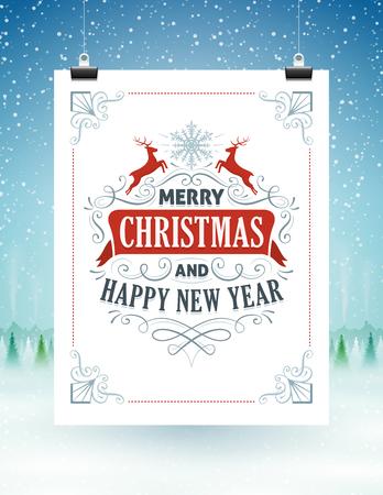 fondo para tarjetas: Tarjeta de Navidad colgando de cuerdas con un paisaje cubierto de nieve en el fondo.