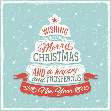크리스마스 트리 모양의 왜곡 된 텍스트와 크리스마스 인사말 카드입니다. 만 고체 채우기 사용. 투명도. 색상은 RGB 모드이다. 색상의 변화없이 CMYK로  일러스트