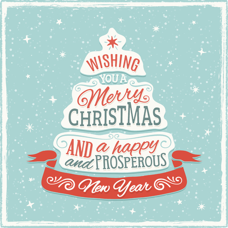 Christmas greeting card with distorted text in the shape of a christmas tree. Only solid fills used. No transparency. Color mode is RGB. Converts to CMYK without any color change. Illustration