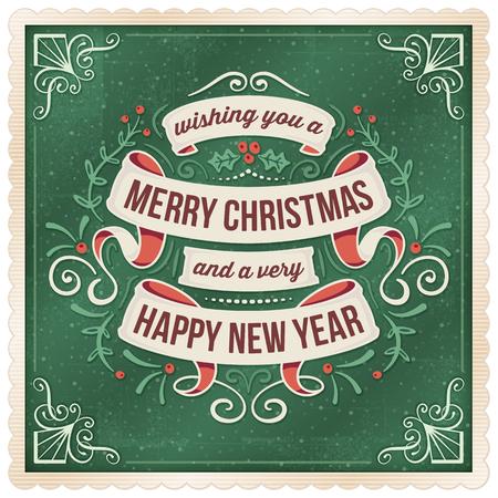 베이지 색 리본 장식과 짙은 녹색 크리스마스와 새 해 이브 인사말 카드입니다.