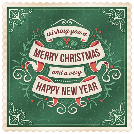 Dark green christmas and new year's eve greeting card with beige ribbons and ornaments.
