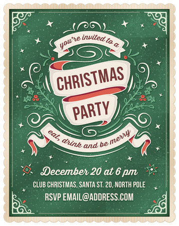 christmas parties: Elegant dark green christmas invitation with beige and red ornaments and ribbons. Room for text at the bottom.