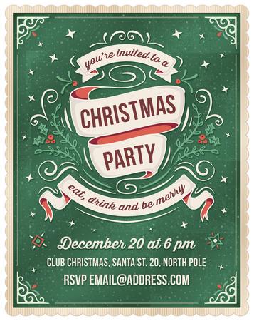 diciembre: Invitación elegante de Navidad de color verde oscuro con adornos y cintas de color beige y rojo. Sitio para el texto en la parte inferior.