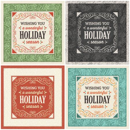 christmas card in four different versions. Only solid fills used.  Illustration