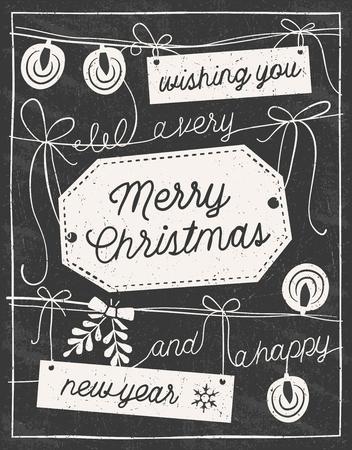 라벨, 문자열, 조명 및 활을 손으로 그린 칠판 크리스마스 카드입니다. 만 고체 채우기를 사용합니다. 투명도. 일러스트
