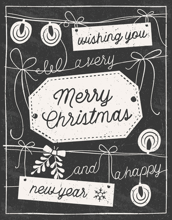 Hand drawn chalkboard christmas card with labels, strings, lights and bows. Only solid fills used. No transparency. Illustration