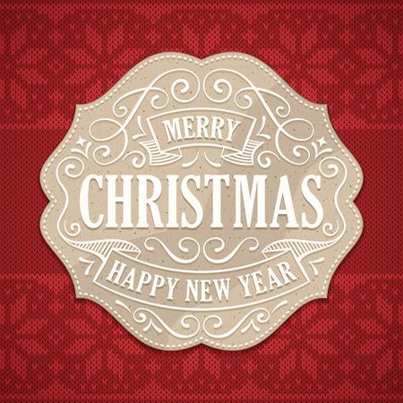크리스마스와 흰색 텍스트 및 장식품 종이 레이블 새해 인사말입니다. 백그라운드에서 니트 빨간 크리스마스 패턴.