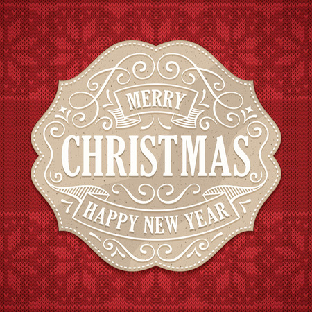 woven label: Christmas and new years greeting with a cardboard label with white text and ornaments. Knitted red christmas pattern in the background. Illustration