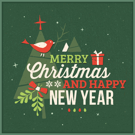 어두운 녹색 사각형 크리스마스 인사말 카드 모양.