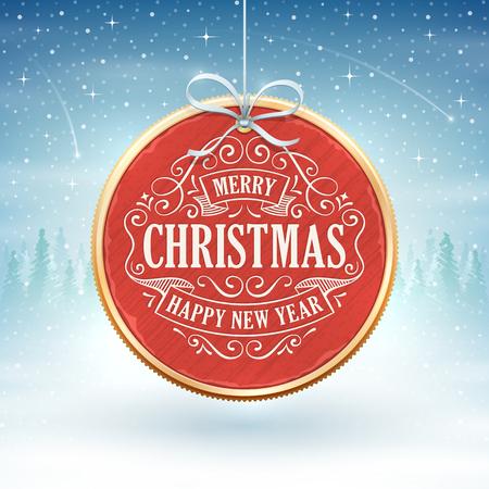 장식품 및 텍스트 겨울 풍경의 전경에 매달려 빨간 크리스마스 메달.