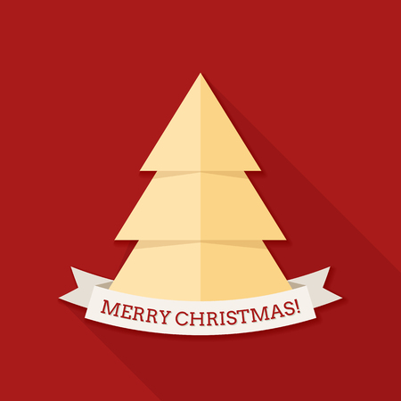 Red square shaped christmas card with a stylized christmas tree and a ribbon.