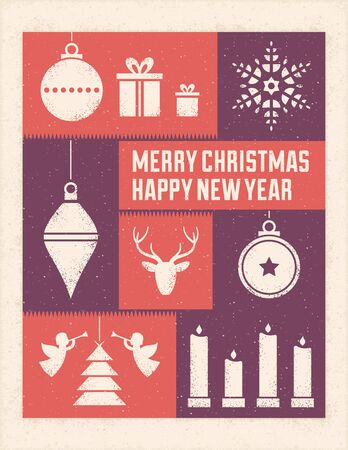 Textured christmas card with text and ornaments. Only solid fills used. Illustration