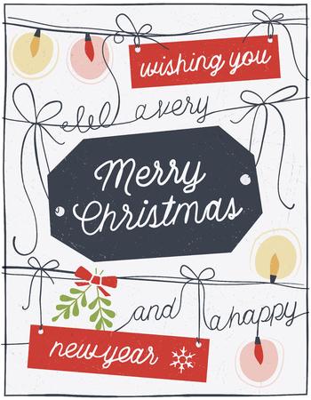 손 크리스마스 인사말 카드를 그려. 만 고체 채우기를 사용합니다. 문자열의 모든 조각은 별도의 개체입니다. 화면 쉽게 편집 할 수 있도록, 텍스처에