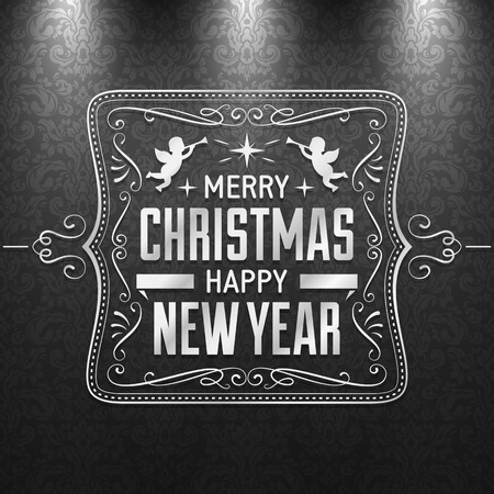 Black and white christmas greeting card with silver text and decoration on a dark grey pattern.  Illustration