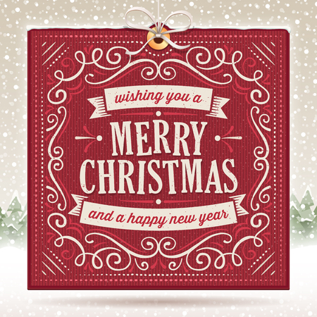 Big red christmas card with ornaments and text on a beige snowy background. Scratches can be removed. Screen blending mode used on a couple of objects.