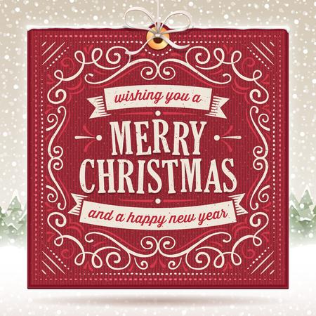 베이지 색 눈 덮인 배경에 장식품 및 텍스트와 큰 빨간 크리스마스 카드. 흠집 제거 할 수 있습니다. 객체의 커플에 사용되는 화면 혼합 모드.