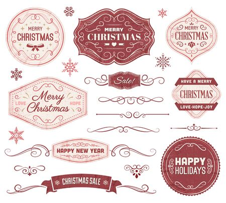 Collection of christmas vector labels and ornaments. File format is EPS10.  イラスト・ベクター素材