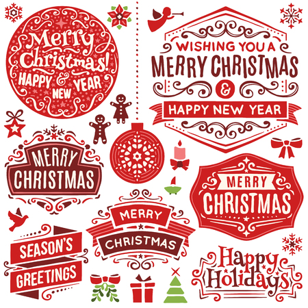 Collection of hand drawn christmas design elements. Only solid fills used. Illustration