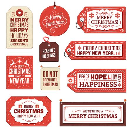 christmas tag: Collection of vector christmas tags and labels.