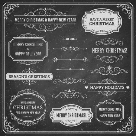 Collection of chalkboard christmas ornaments and labels.