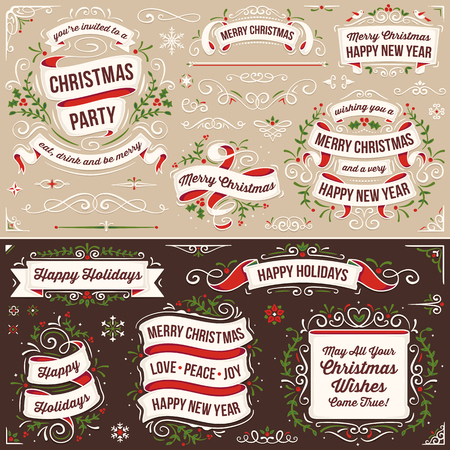 corner: Large set of christmas banners and ornaments in red, green and white. Only solid fills used. Illustration